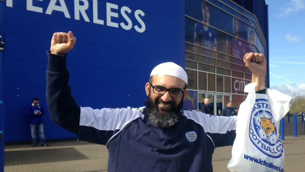 Imam Ather Hussain celebrating Leicester's EPL success